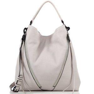 REBECCA MINKOFF • Moto Leather Hobo Bag Putty Gray